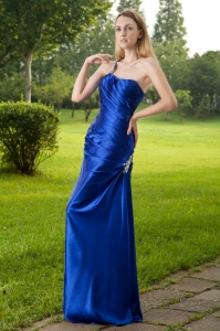 Blue Column One Shoulder Ruched Taffeta Beading Prom Dress