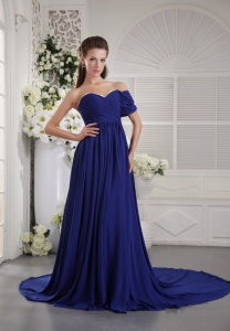 Blue One Shoulder Brush Train Chiffon Ruch Prom Graduation Dress