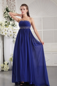 Blue Empire Backless Brush Train Chiffon Beading prom Evening Dress