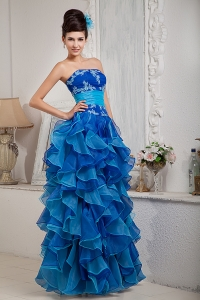Blue Empire Strapless Ruffles Organza Appliques Prom Dress