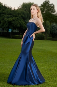 Blue Mermaid Strapless Taffeta Ruch Prom Celebrity Dress