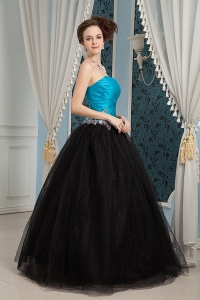 Blue and Black Organza and Tulle Beading Prom Dresses