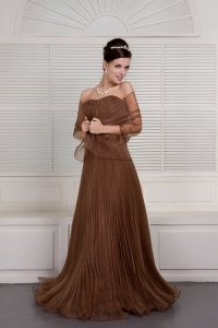 Brown Sweetheart Brush Train Organza Pleat Prom Evening Dress