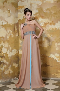 Brown One Shoulder Chiffon Rhinestones Prom Evening Dress