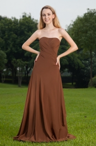 Brown Bridesmaid Dress Column Strapless Brush Train Ruch