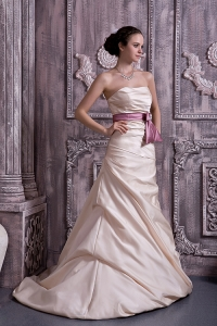 Strapless Belt and Beading Satin Champagne Prom Dress