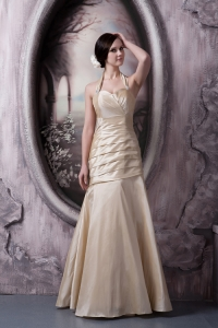 Hot Champagne A-line Halter Floor-length Taffeta Ruch Prom Dress