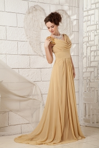 Champagne Prom Dress V-neck Brush Train Chiffon Beading