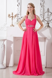 Coral Red Empire Halter Brush Train Beading Prom Dress