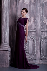 Dark Purple Prom Dress Column Bateau Brush Train Beading