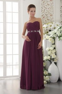 Dark Purple Bridesmaid Dress Sweetheart Chiffon Beading and Ruch