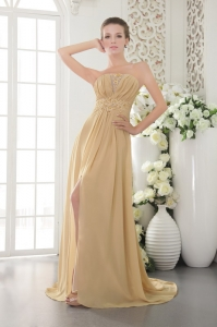 Gold Graduation Dress Strapless Brush Train Appliques and Ruch