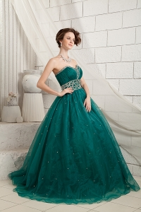 Green A-line Prom Dress Sweetheart Brush Train Organza Beading