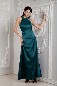 Green Scoop Prom Dress Ankle-length Taffeta Beading