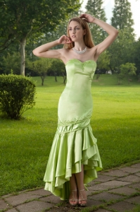 Green Mermaid Sweetheart High-low Taffeta Beading Prom Dress