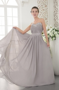 Grey Sweetheart Brush Train Beading and Ruch Prom Evening Dress