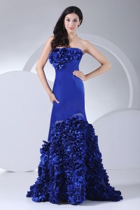 Hand Made Flowers Mermaid Royal Blue Prom Dress