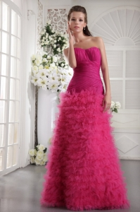 Hot Pink Sweetheart Organza Layers Prom Evening Dresses