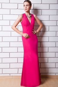 Hot Pink Column V-neck Floor-length Chiffon Prom Dress