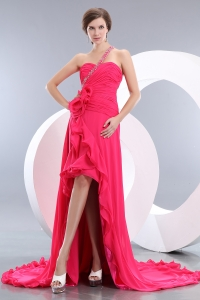 One Shoulder Hot Pink High-low Chiffon Beading Prom Evening Dress