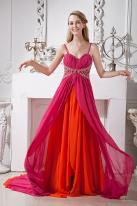 Spaghetti Straps Two-tones Brush Train Beading Prom Dress