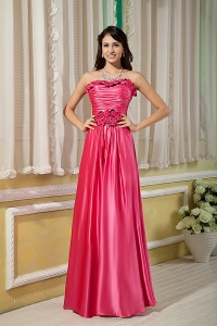 Elastic Woven Satin Prom Dress Hot Pink Empire Strapless