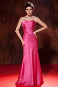 Hot Pink Mermaid Strapless Brush Train Ruch Prom Dresses