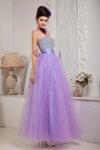 Two-tones Lavender Tulle Beading Prom Dress with Sash