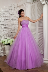 Lavender Sweetheart Prom Dress Organza Beading with Sash