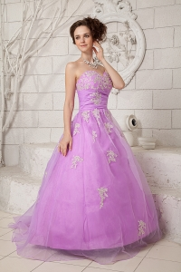 Lavender Sweetheart Tulle Appliques Prom Dresses