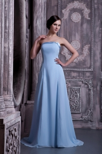 Trendy Light Blue Strapless Brush Train Prom Dresses