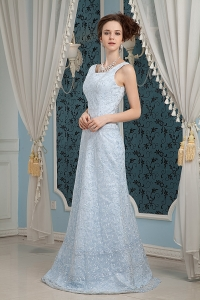 Light Blue Column Straps Brush Train Lace Prom Dress