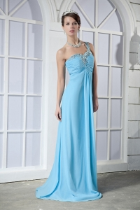 Light Blue Prom Dress One Shoulder Brush Train Chiffon