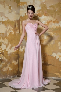 Baby Pink Sweetheart Brush Train Chiffon Beading Prom Dress