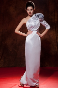 Lilac One Shoulder Satin Hand Made Flower Prom Dresses