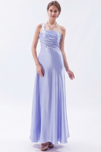 Lilac One Shoulder Elastic Woven Satin Beading Prom Dress