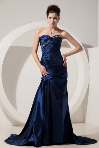 Navy Blue Mermaid Beading Prom Dress Sweetheart Brush Train