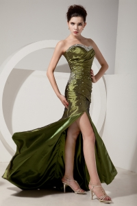 Olive Green High Slit Brush Train Beading and Ruch Prom Dress