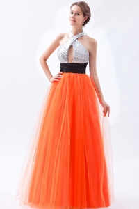 Orange Prom Dress Empire Halter Floor-length Tulle and Sequin