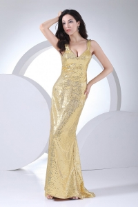 Sequins Over Skirt Gold V-neck Prom Dress Floor-length