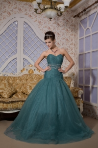 Green Sweetheart Prom Evening Dress Brush Train Tulle Beading