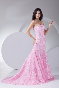 Printing Mermaid Strapless Brush Train Prom Dress