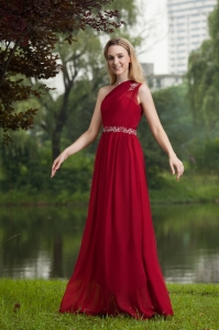 Red Empire One Shoulder Chiffon Beading Prom Evening Dress