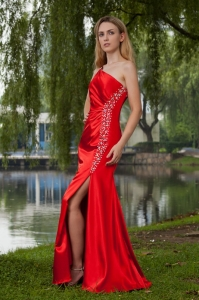 Red Empire One Shoulder High Slit Taffeta Beading Prom Dress