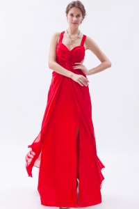 Red Empire Straps Ankle-length Chiffon Sequins Prom Dress