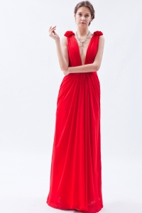 Sexy Deep V-neck Chiffon Beading Red Empire Prom Dress