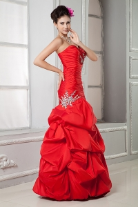 Red Mermaid Sweetheart Ruffled Taffeta Beading Prom Dress