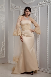 Romantic Champagne Strapless Lace Prom Dress with Jacket