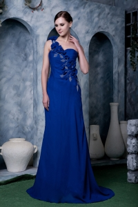 Royal Blue One Shoulder Hand Made Flowers Beading Prom Dress