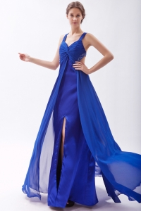 Royal Blue Slit Empire Straps Chiffon Beading Prom Dress